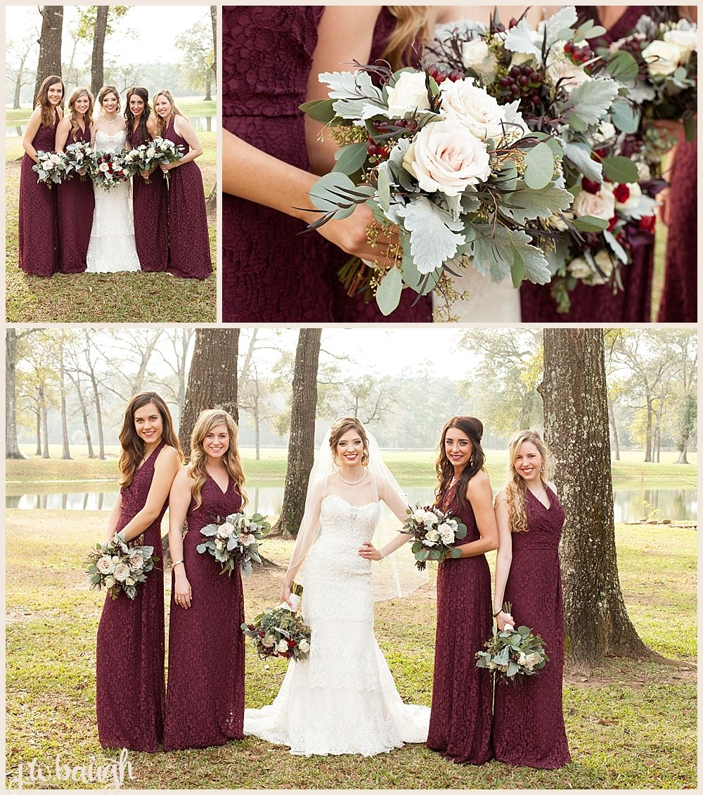 21 Breathtaking Flowers To Inspire Your Winter Wedding: Balmorhea Wedding In Magnolia, TX Burgundy Bridesmaid