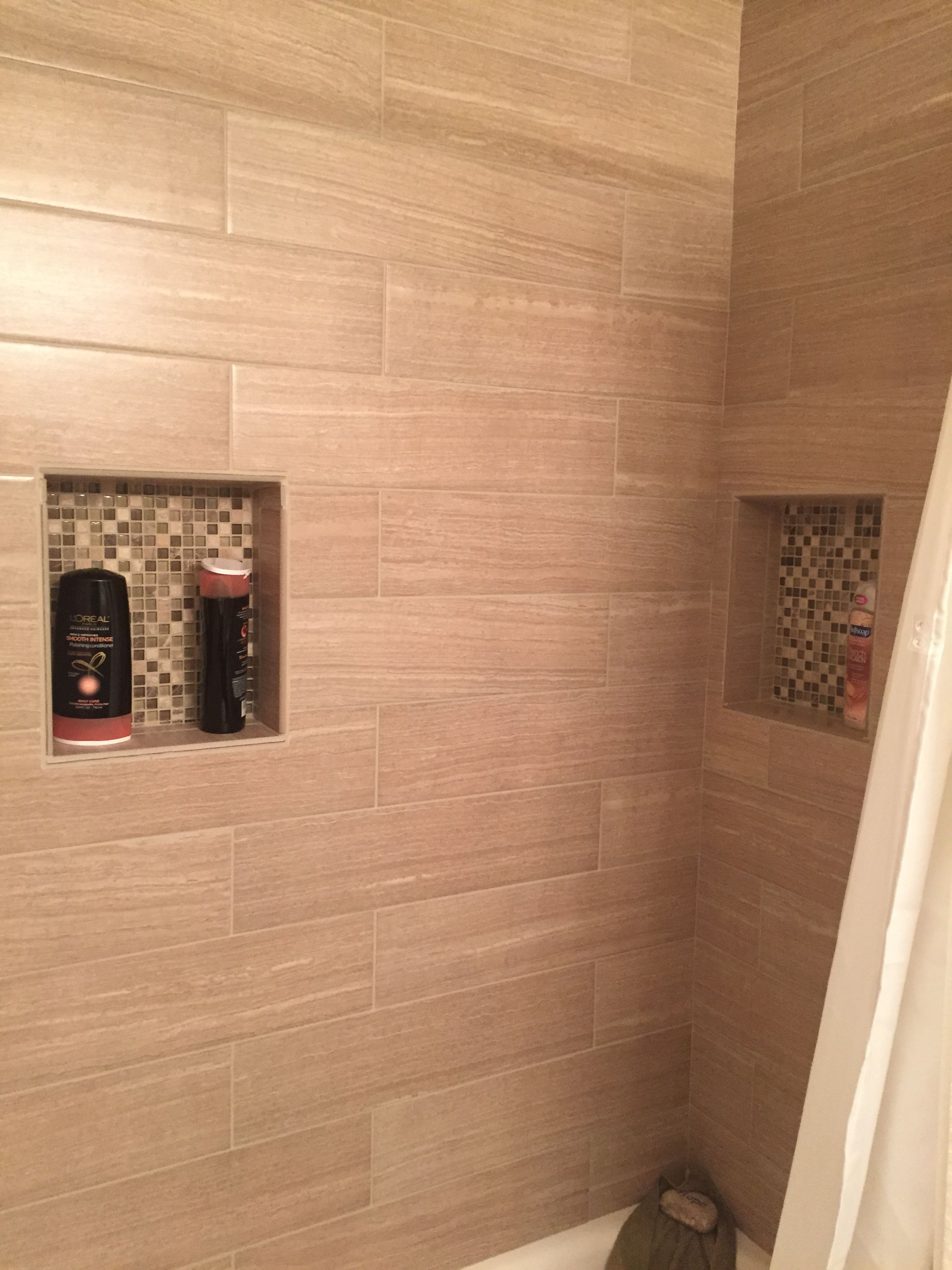 Leonia Sand Tile In Shower With Insets Quartzlock 2 Antique White Grout Lay Pattern Is 30
