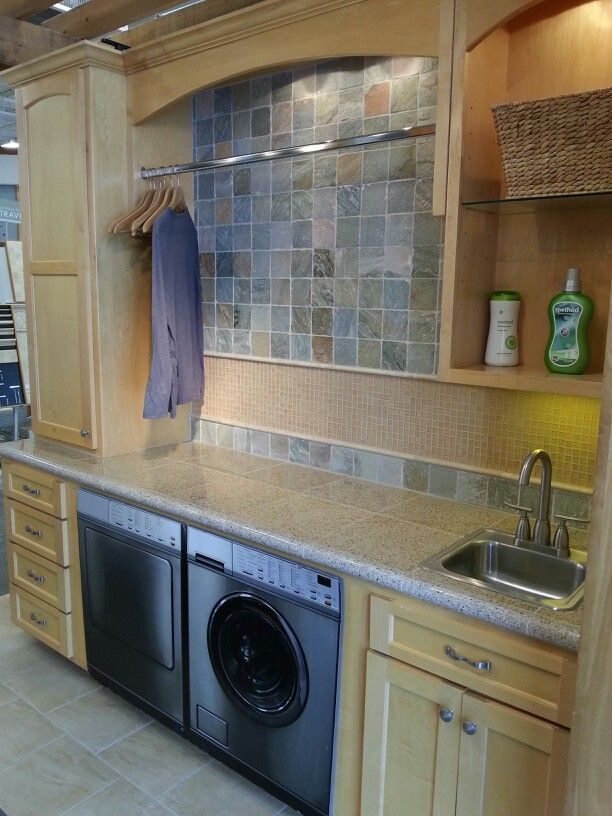 Laundry Room Idea I Like The Hanging Bar Above Washer And Dryer