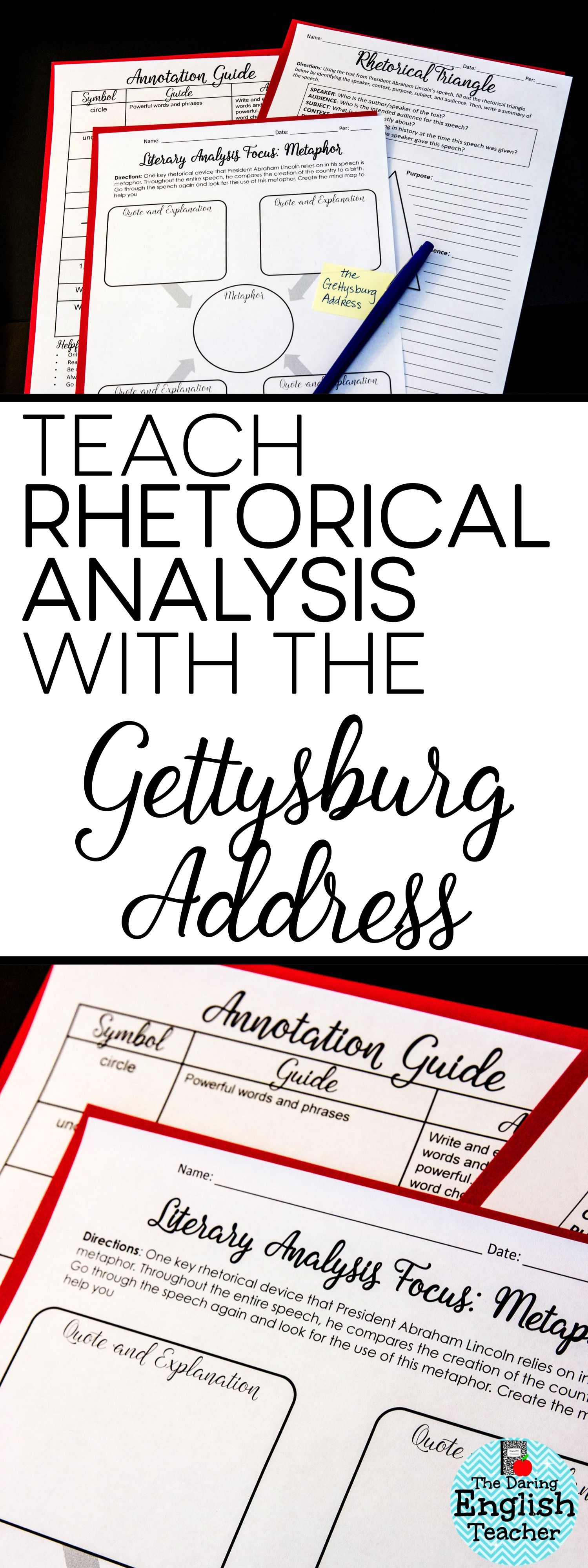 The Gettysburg Address Rhetorical Analysis Activity Packet  My Tpt  Teach Rhetorical Analysis Rhetorical Appeals And Rhetorical Devices Using  The Gettysburg Address American Literature High School Ela