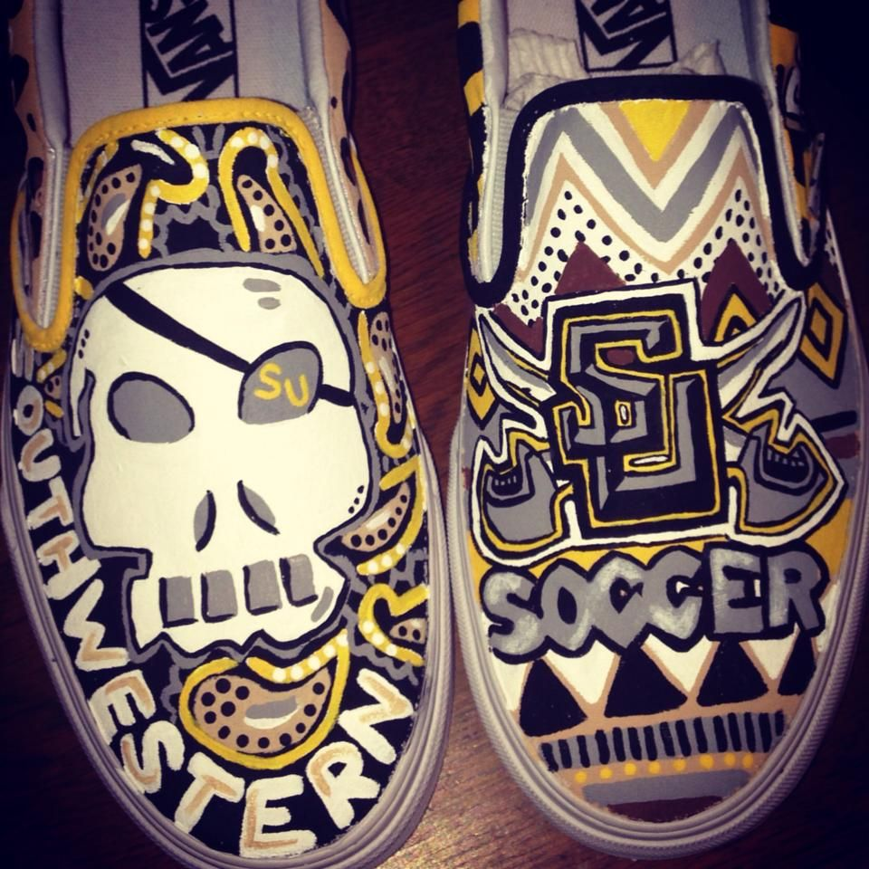 Custom painted Southwestern University shoes!