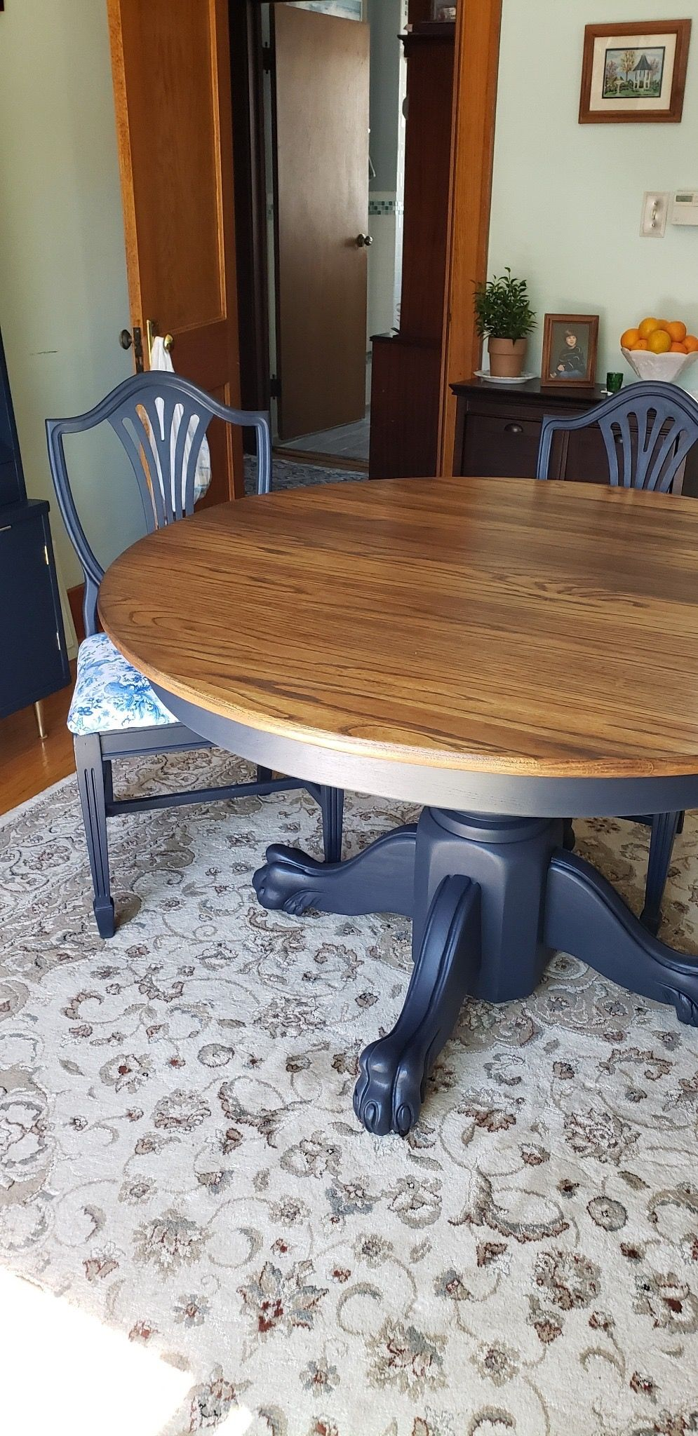 Cappuccino Table Top And Midnight Blue Base And Chairs Gorgeous Painted Chairs Dining Room Blue Dining Tables Blue Dining Room Chairs