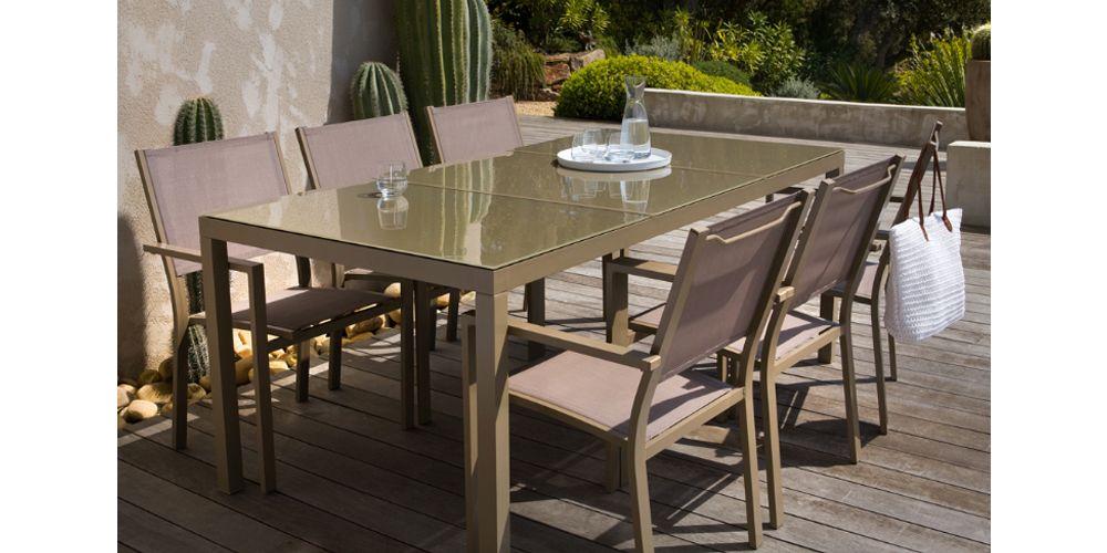 Salon de jardin Faugères aluminium 1 table + 6 fauteuils | Salons ...