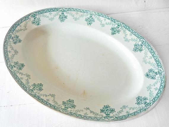 France Fayence Plate St Amand Green Oval, Garlands Gentian, Christmas Thanksgiving, Roast Plate, Vin