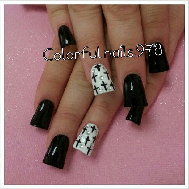 Flared Nails With Cross Duck Feet Nails Pinterest Flare Nails