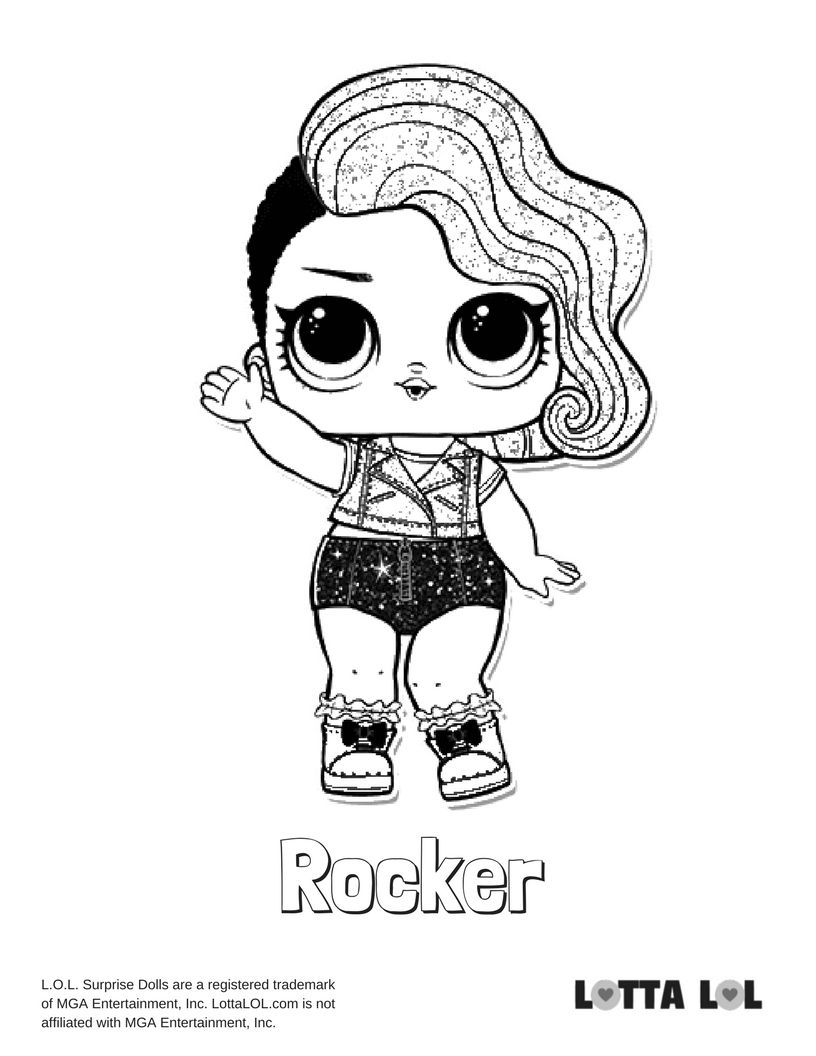 rocker coloring pages Rocker Glitter Coloring Page Lotta LOL | COLORING PAGES  rocker coloring pages