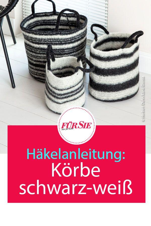 Photo of Häkelanleitung: Körbe in schwarz und weiß