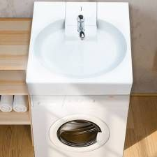 lavabo avec siphon arri re sur machine laver meubles pinterest lavabo arriere et salle. Black Bedroom Furniture Sets. Home Design Ideas