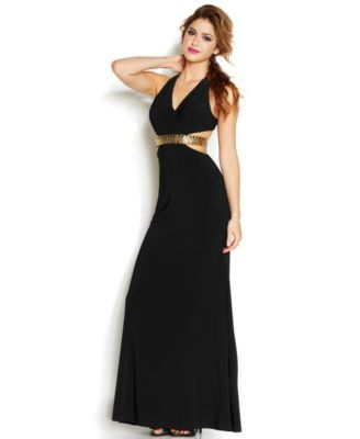 Hailey Logan By Adrianna Papell Juniors Cutout Sequin Band Gown