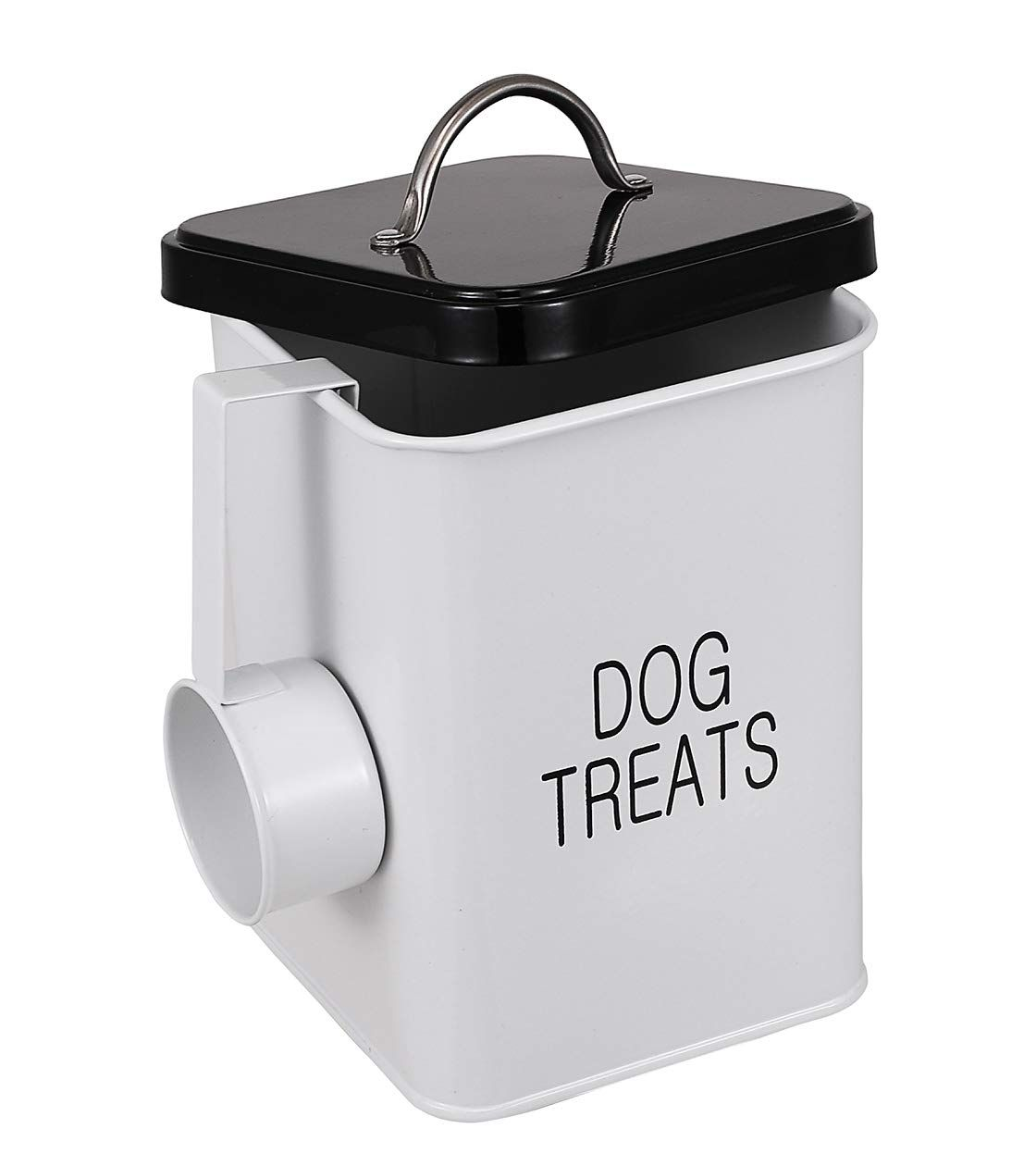Dog treat and food storage tin with lid and scoop included