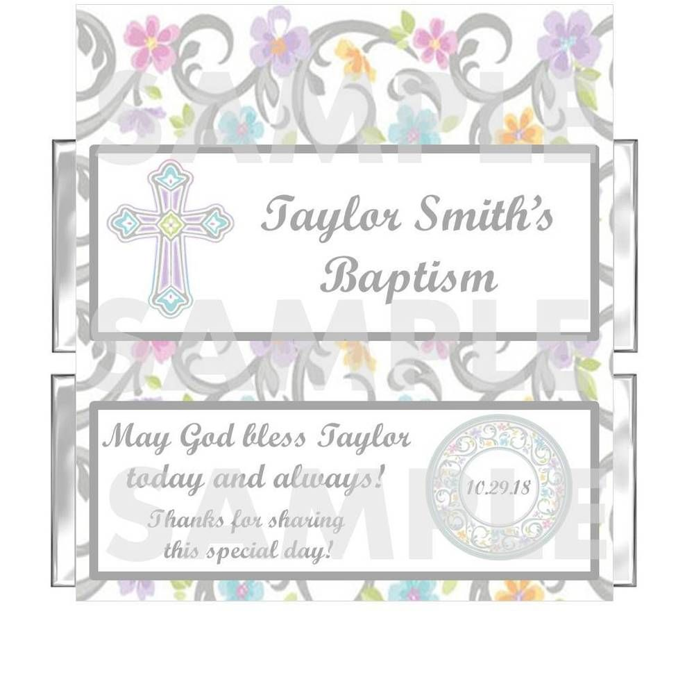 Personalized Floral Blessed Day Religious Baptism Candy Bar Wrappers Favor | eBay
