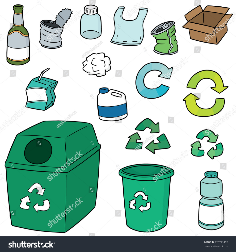 Vector Set Recycle Garbage Stock Vector Royalty Free 720721462 In 2020 Recycling Free Vector Art Drawing Examples
