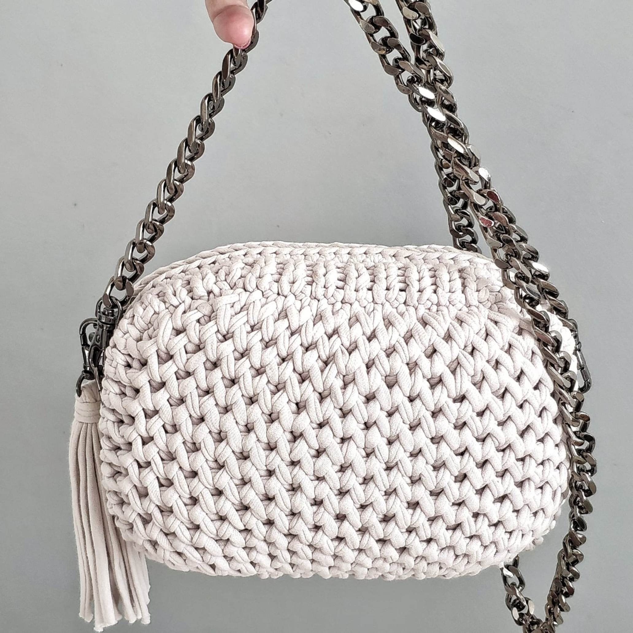 Gray Crossbody Bag Knitted Small Cotton Bag Casual Office Bag With Metal Strap Shristmas Gift Grey Crossbody Bag Casual Office Bag Casual Bags