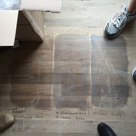 Minwax Floor Stain Weathered Oak And Classic Gray Middle Option Layered On Top Of Each