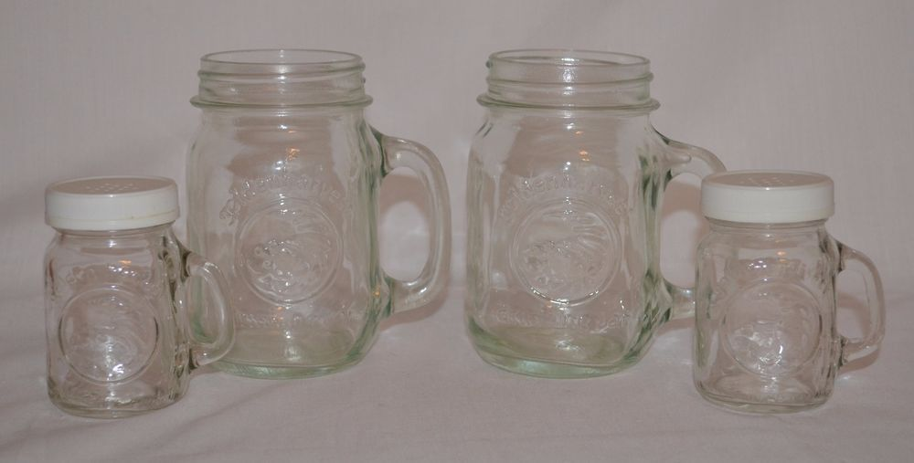 Golden Harvest Glass Drinking Mason Jars & Salt/Pepper Shakers Wedding Decor #GoldenHarvest