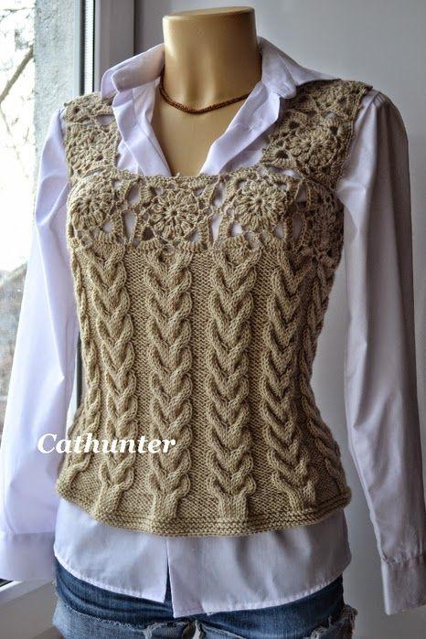 Patrones de Chaleco con dos agujas y crochet | tejidos dos agujas en ...