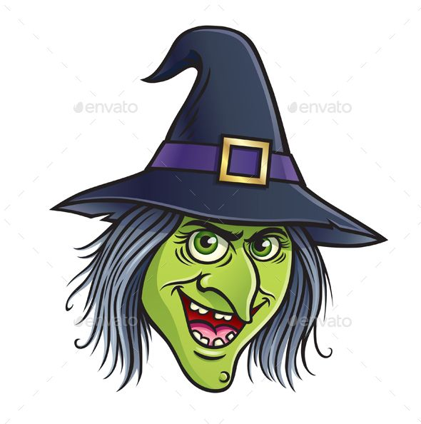 Halloween Cartoon Witch Face.Cartoon Of A Smiling Wicked Witch Face Character Graphicriver