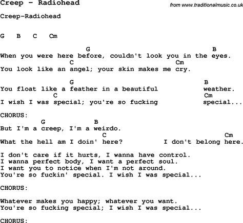 Song Creep by Radiohead, with lyrics for vocal performance and ...