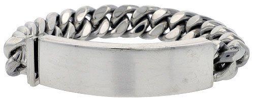 Sterling Silver Cuban Curb Link Men S Id Bracelet 1 2 Inch Wide Sizes 8