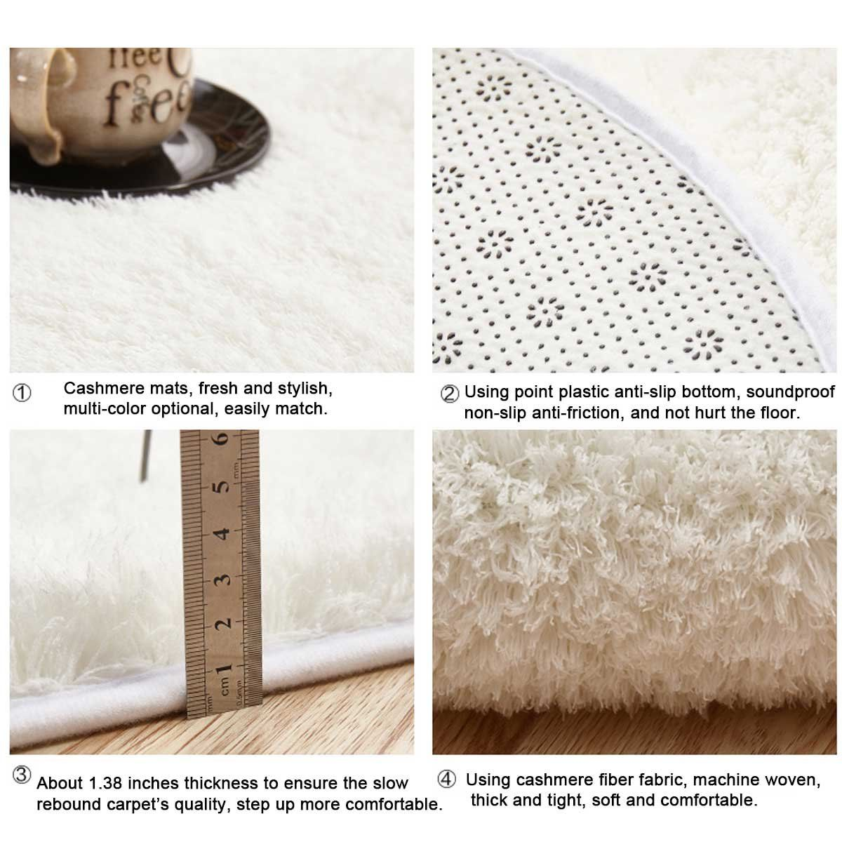 Razou soft shaggy rugs pad nonslip oval doormat entry carpet for