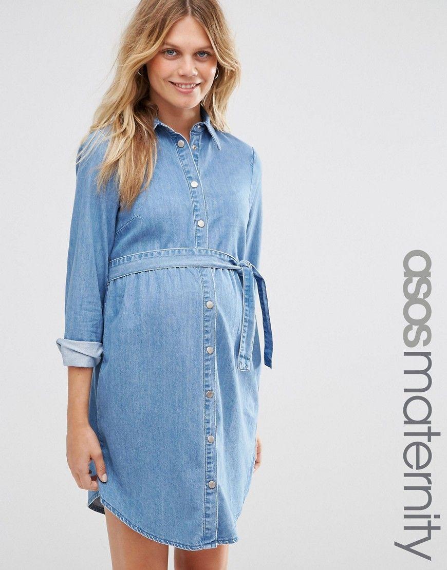 Image 1 of asos maternity denim mini shirt dress in mid wash blue image 1 of asos maternity denim mini shirt dress in mid wash blue ombrellifo Gallery