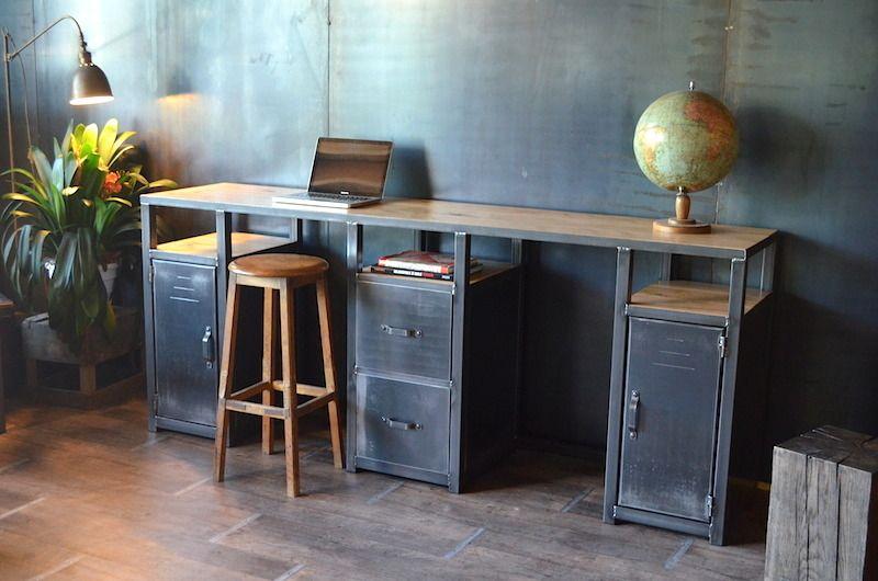 Bureau console en bois et métal style industriel : meubles et