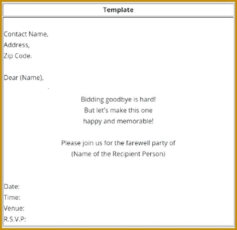 Formal Farewell Party Invitation Letter Farewell Party
