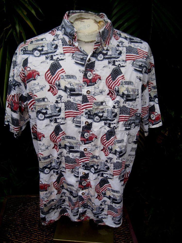 cbc4a84d087 Mens Shirt PATRIOTIC Pit to Pit 25 BOCA CLASSICS cotton USA flag pickup  trucks  BocaClassics  ButtonFront