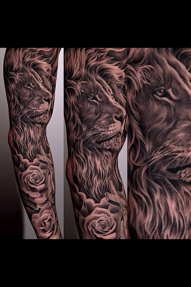 821b3e4ac5802 Epic lion sleeve by Jun Cha #JunCha #lion #tattoo #rose | Tattoos ...