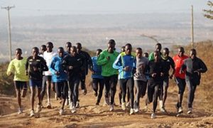 Excellent at avoiding injury … runners training in Kenya for the London Olympics.