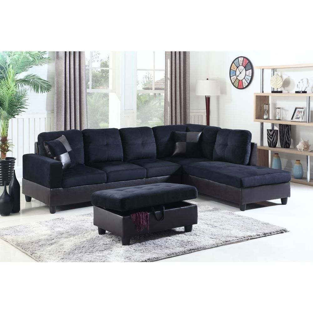 Phenomenal Star Home Living Midnight Blue Right Chaise Sectional With Squirreltailoven Fun Painted Chair Ideas Images Squirreltailovenorg