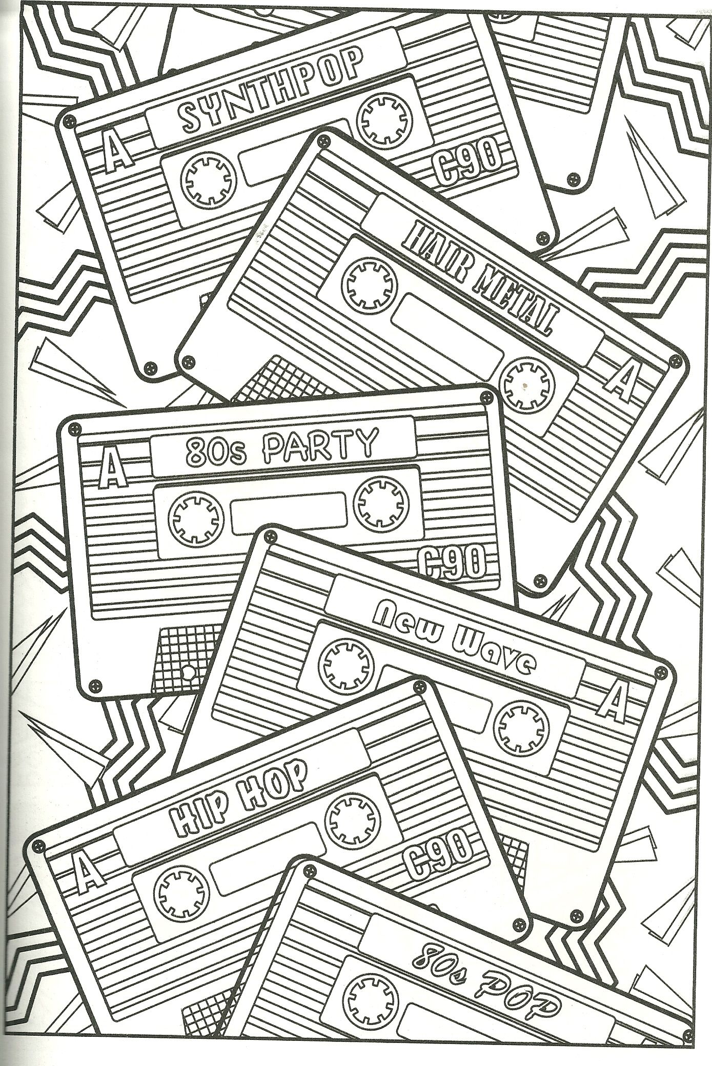 Cassette Tape Coloring Page