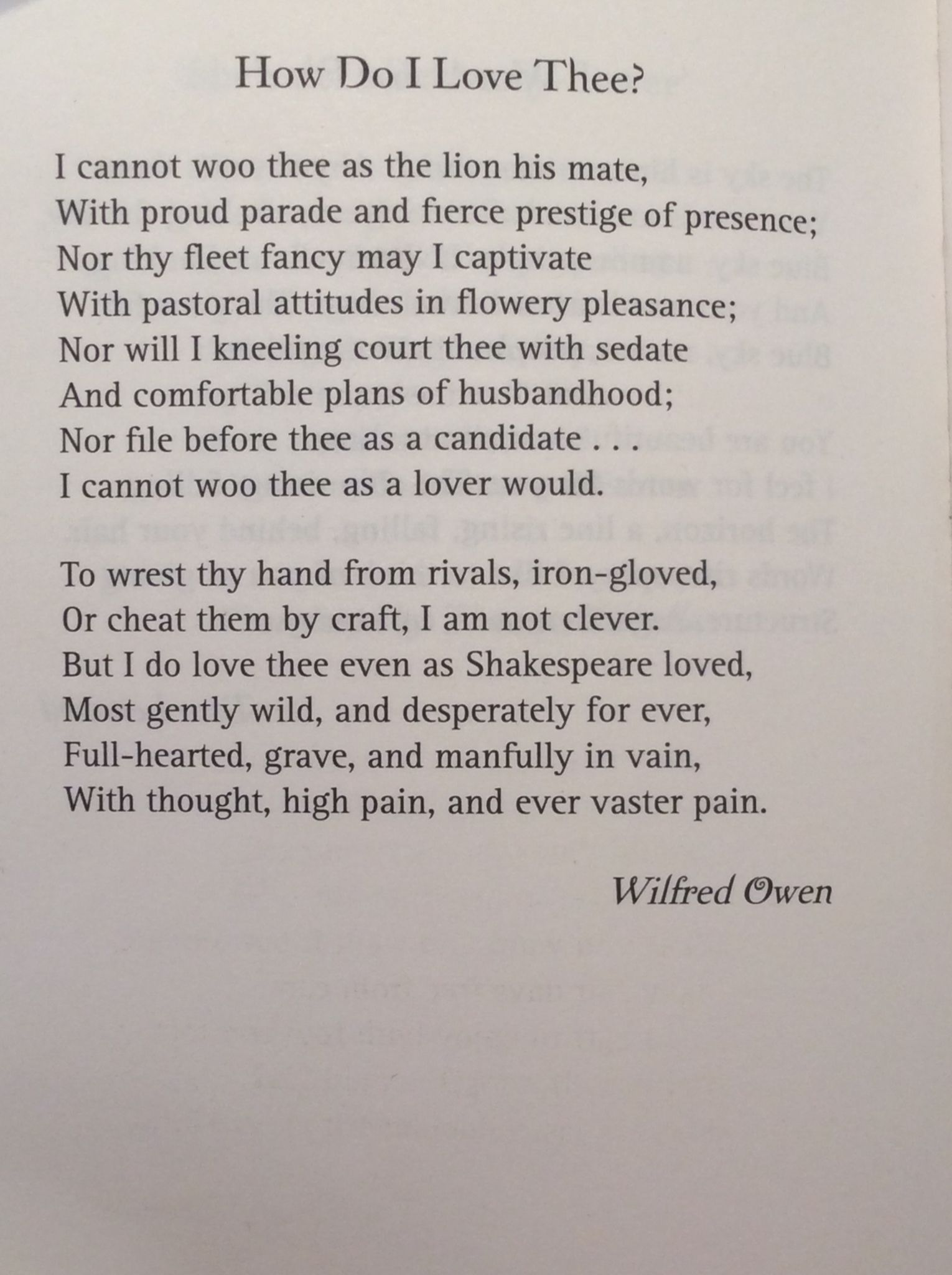 How Do I Love Thee Wilfred Owen Wilfred Owen Poems