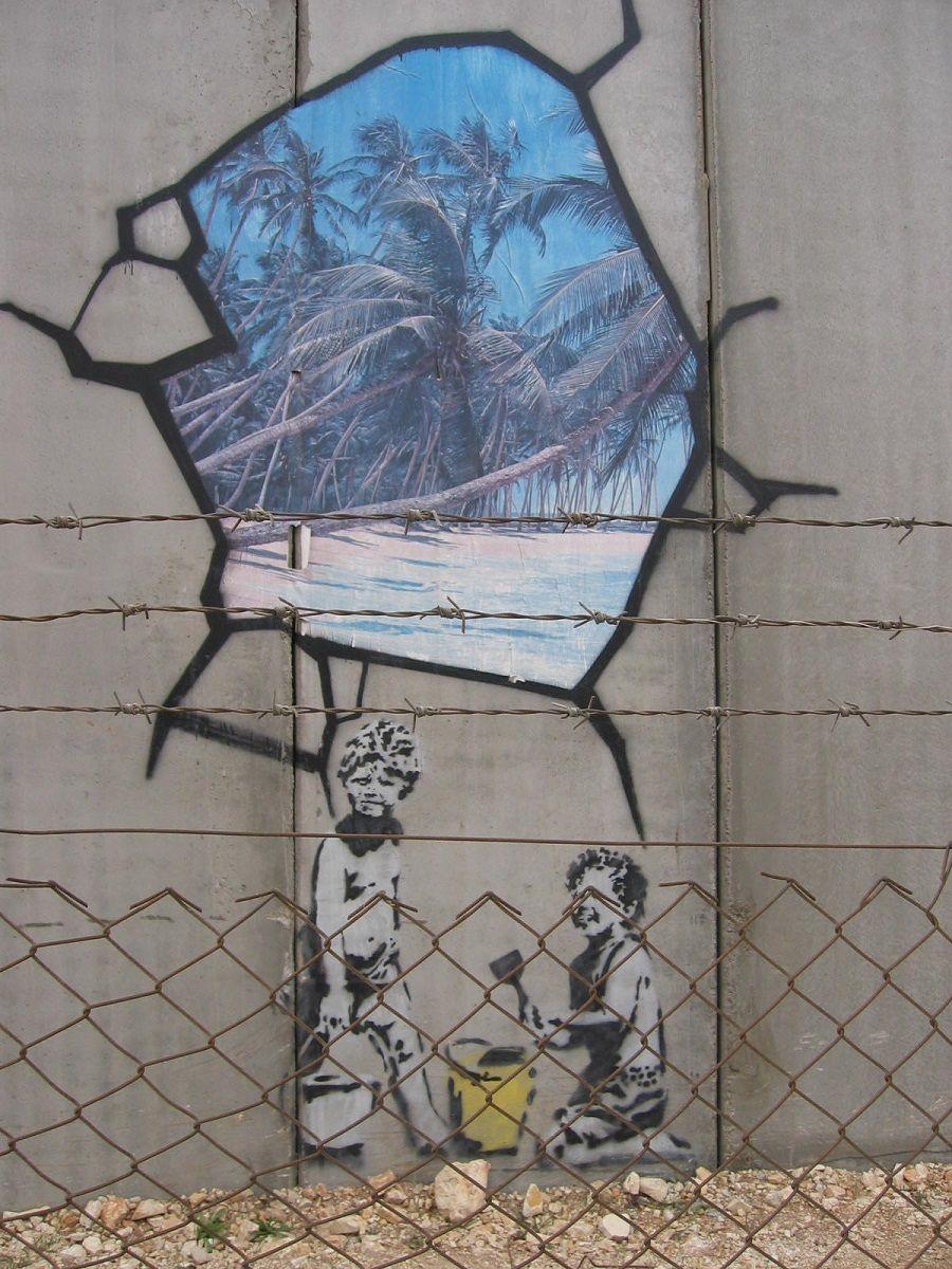 Banksy grafiti en muro en Gaza - Jerusalem
