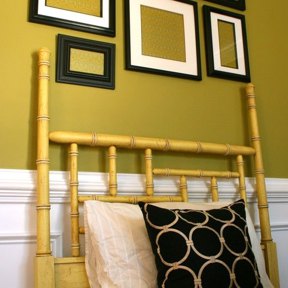 Vintage Chippendale Style Headboard. Twin Size Bed. Chinoiserie. Faux Bamboo.  Cane.