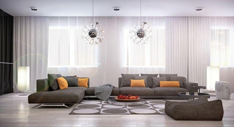 Lampadari moderni soggiorno di stile moderno con divano grigio e