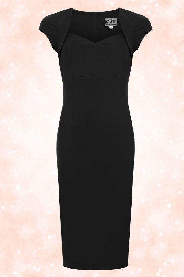 Robe Crayon Noire Pencil Longueur Sous Le Genou Vintage Annee 50 Short Sleeve Dresses Dress Codes Fashion