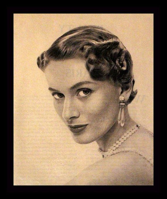 1950 Glamour Hair Ad - Forward Swept and Formal Style - Beauty ...