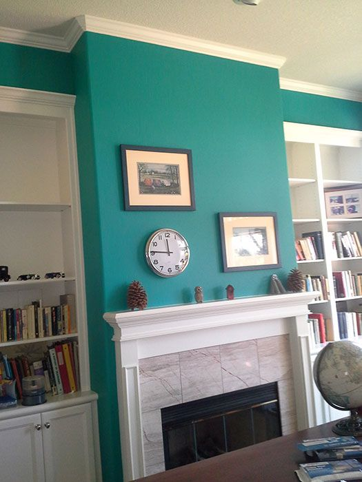 This Office Accent Wall Was Painted With Sherwin Williams Nifty Turquoise  SW6941.
