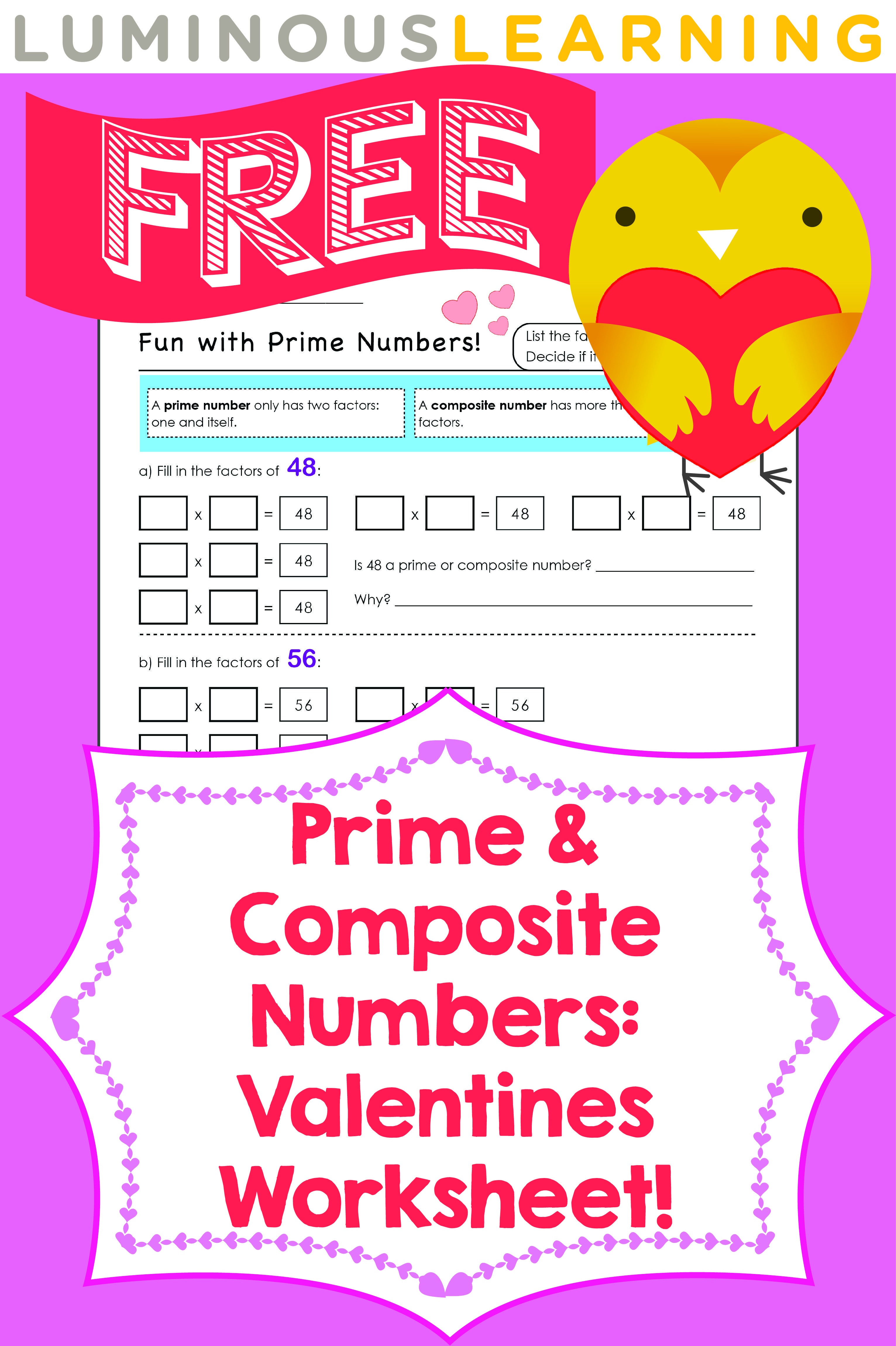 Uncategorized Math Worksheets Prime And Composite Numbers luminous learning free valentines worksheet prime and composite numbers check out all our free