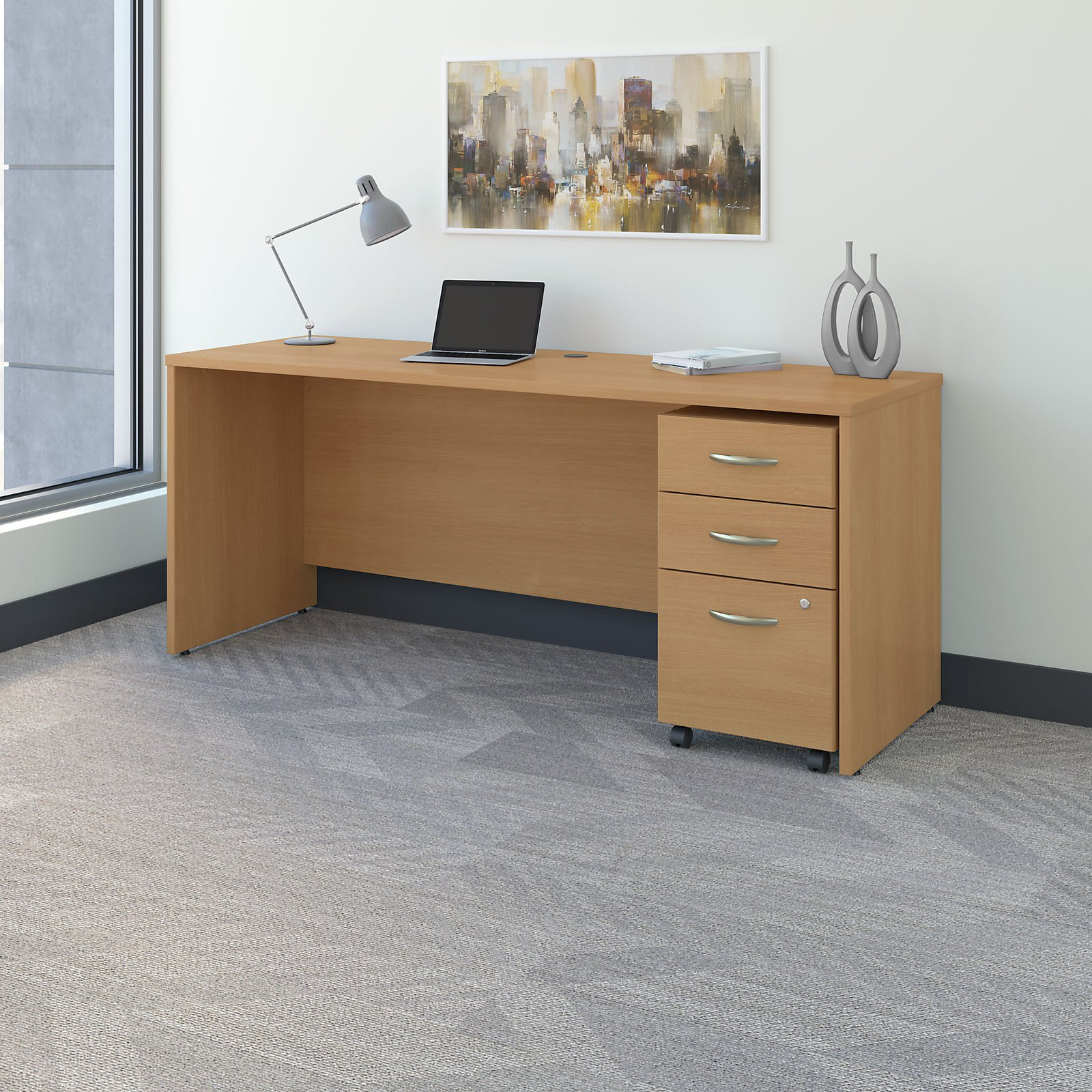 Bush Furniture Series C 72 In Office Desk With Mobile File