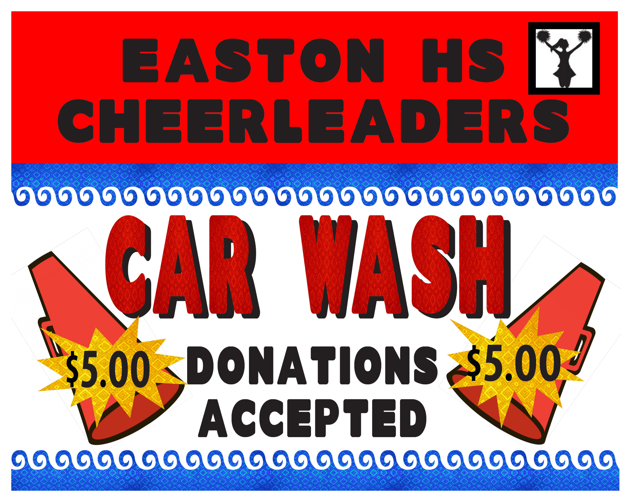 Cheerleader Car Wash Fundraiser Sign Ideas