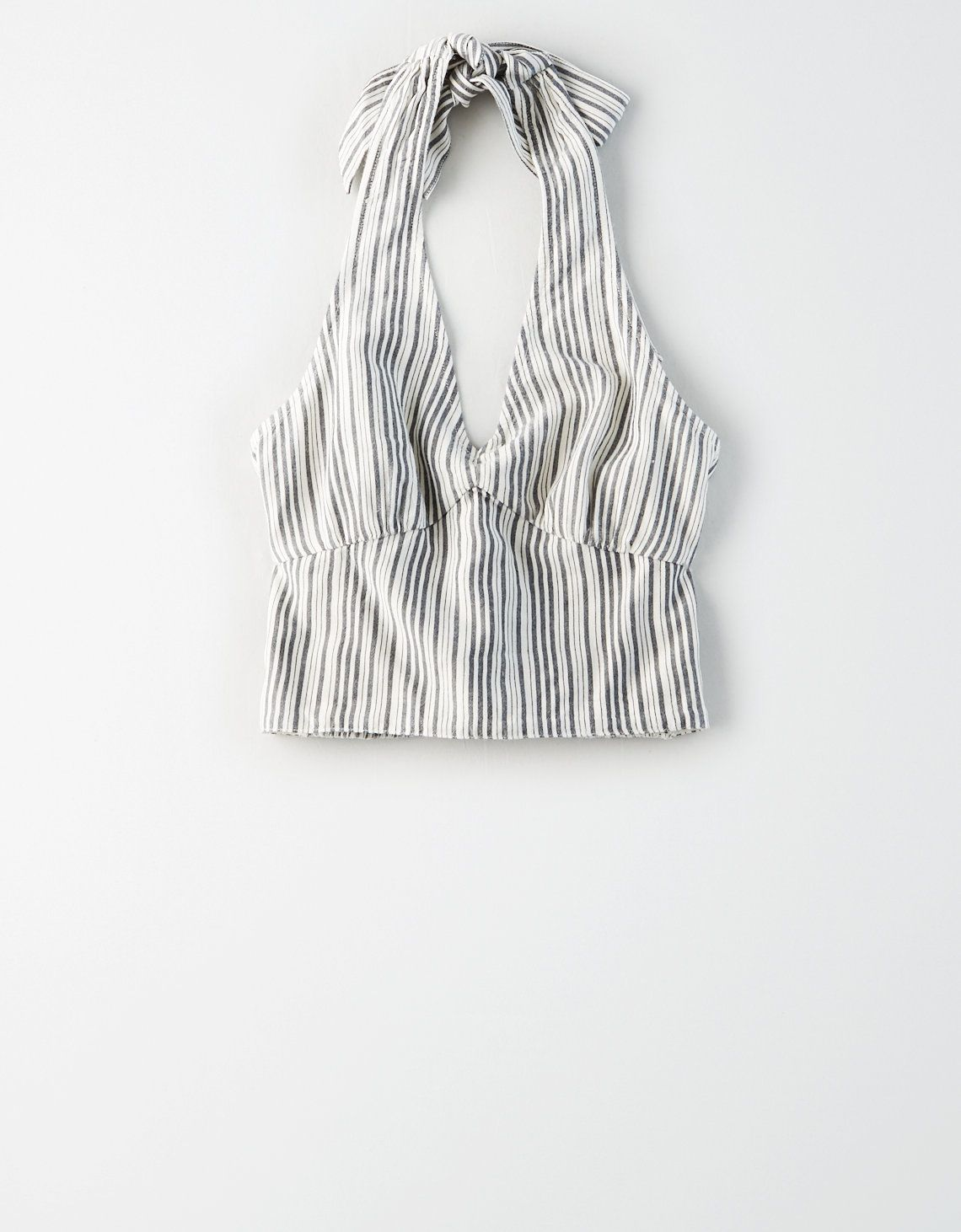 Ae Striped Halter Top Black American Eagle Outfitters