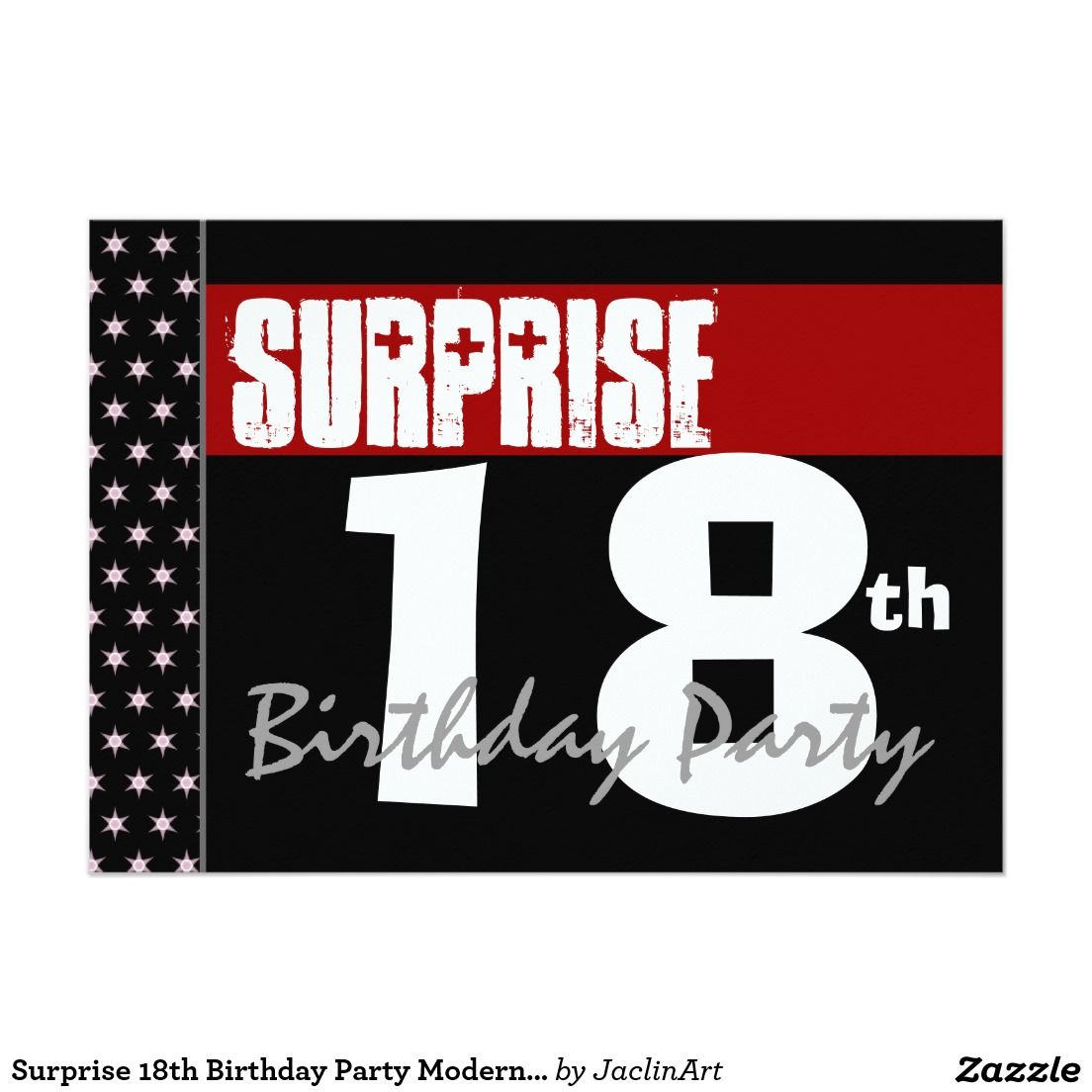 Surprise 18th Birthday Party Modern Black and Red 5x7 Paper ...