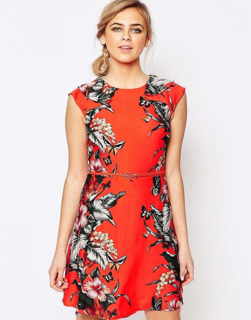 Image 1 of Oasis Tropical Print Belted Skater Dress