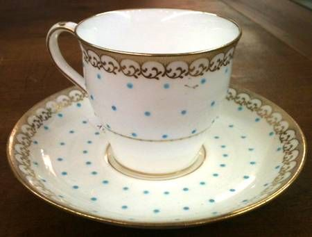 Minton H601 Flat Cup & Saucer Set - Gold Scrolls, Aqua Dots, Smooth, Gold Trim