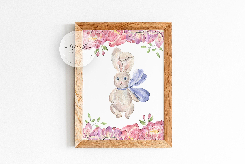 Watercolor Bunny Wall Art Print Nursery Printable Room Printable