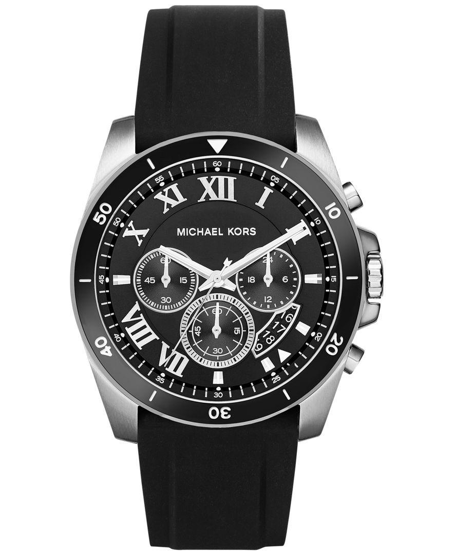 Michael Kors Men's Chronograph Brecken Black Silicone Strap Watch 44mm MK8435
