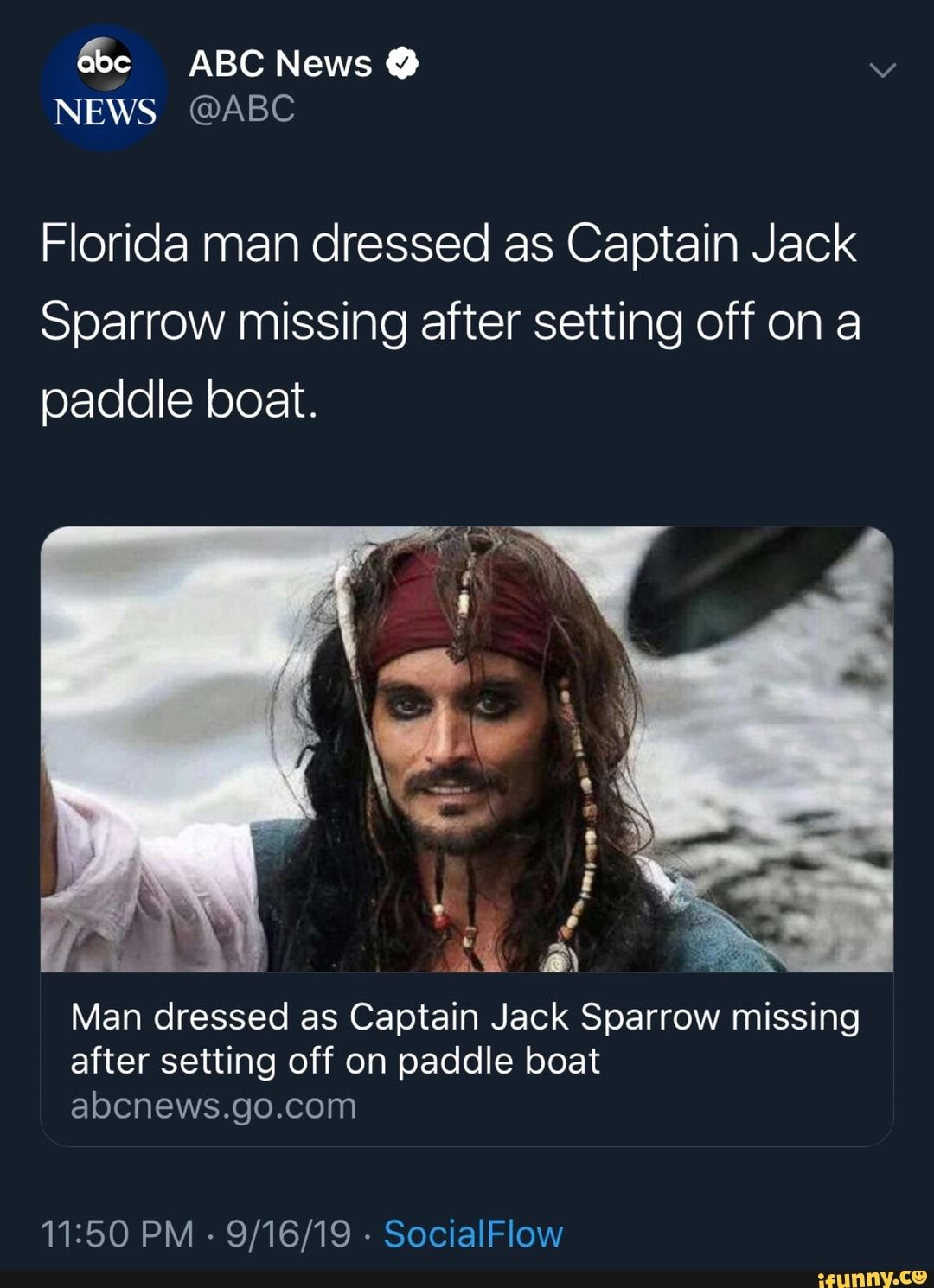 Florida Man Dressed As Captain Jack Sparrow Missing After Setting