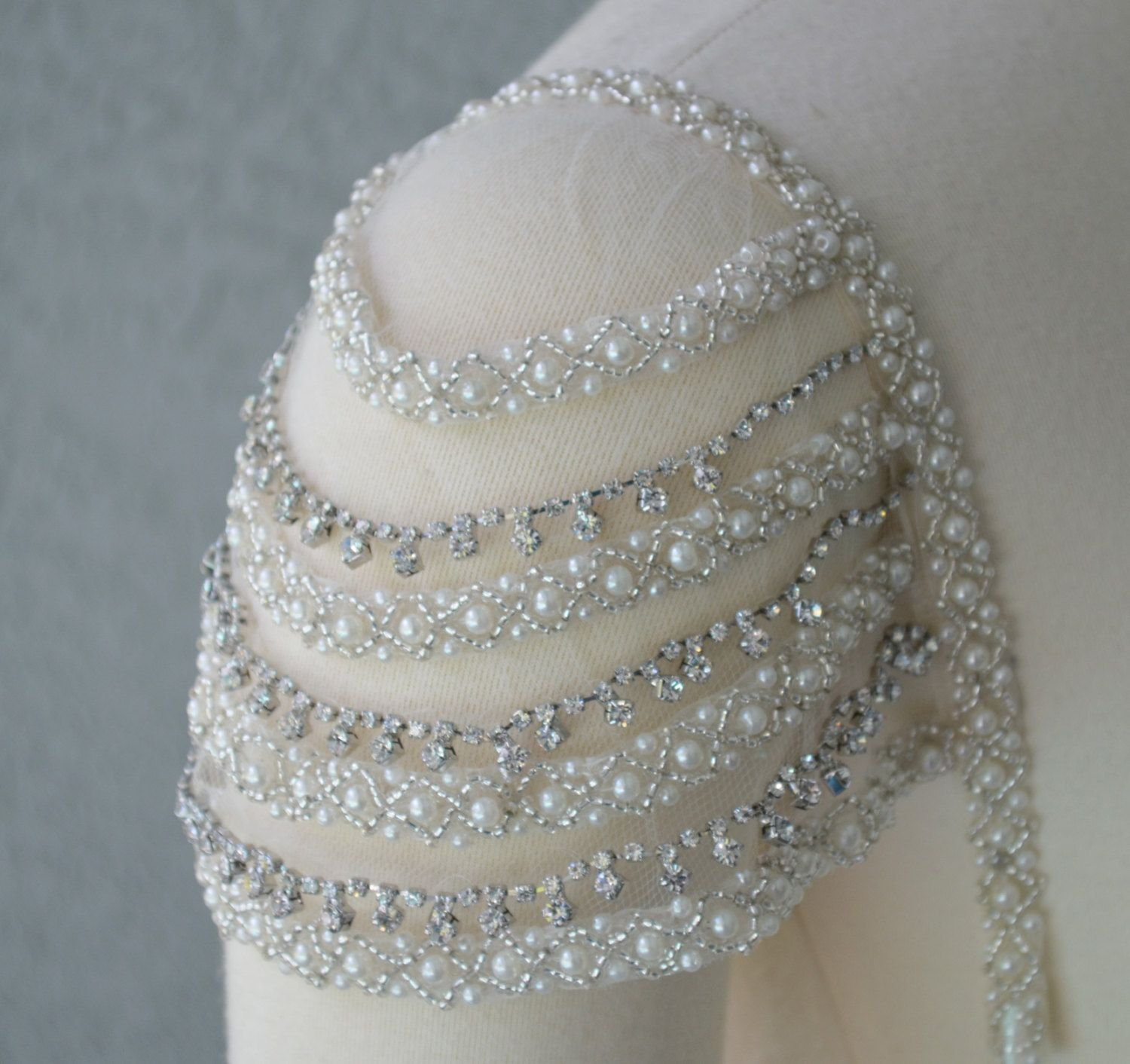 Add on sleeves for wedding dresses  Detachable Addon Beaded Ivory and Rhinestone Cap Sleeves Set of Two